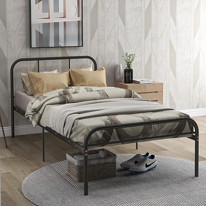 90 x 200 Merax Einzelbett Metallbettrahmen,Single Bett,f/ür Erwachsene und Kinder Jugendliche Schwarz