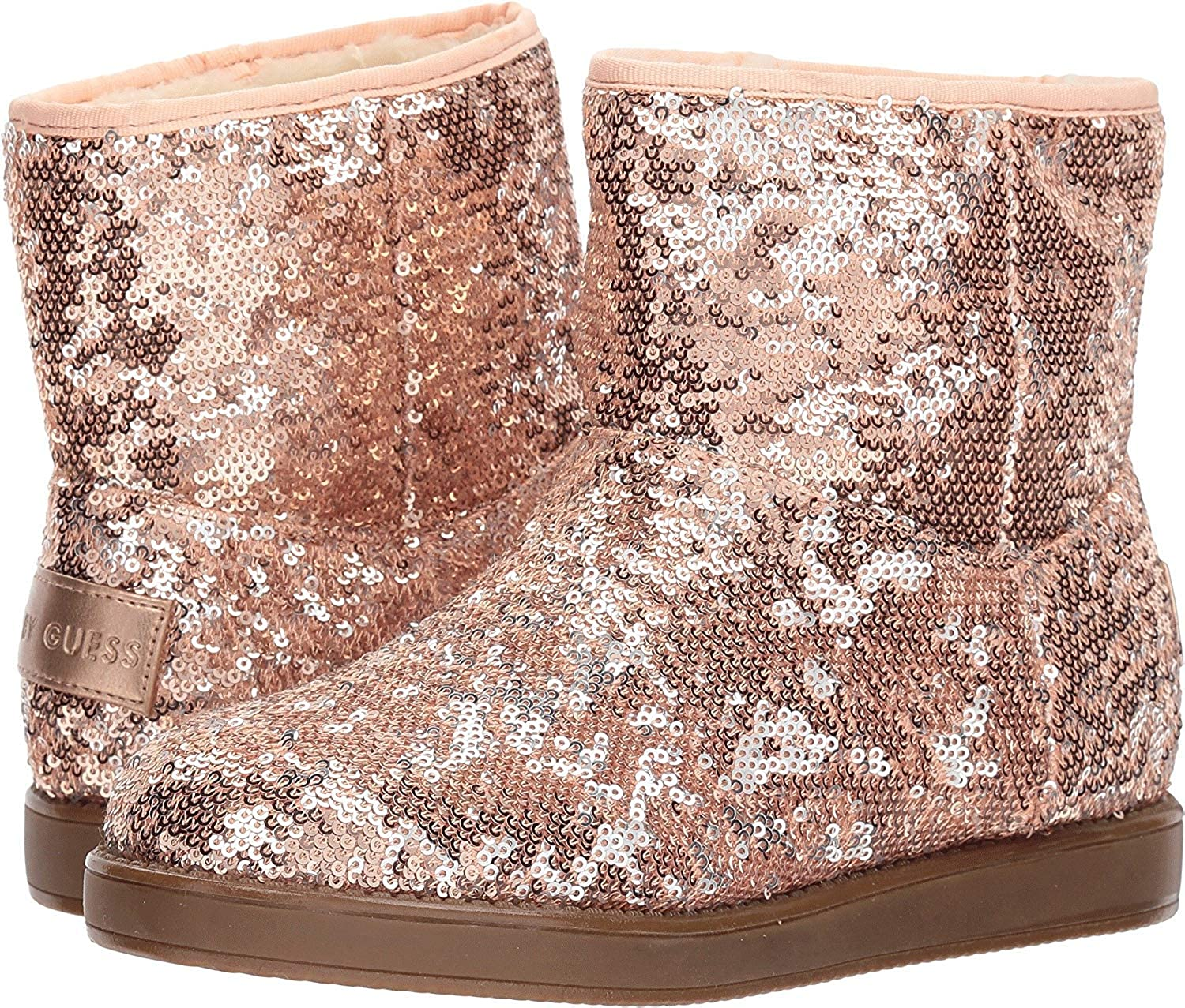 Size 9.0 Pink Sequins G By Guess Womens Asella Fabric Closed Toe Ankle Fashion