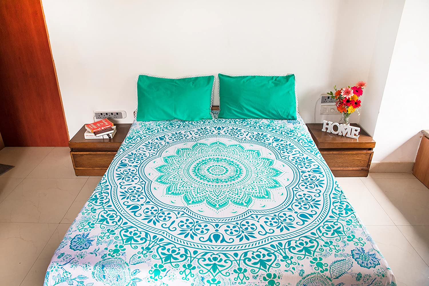 Decorative Mandala Bed Cover Sheet Indian Hippie Bohemian Queen Tapestry Throw