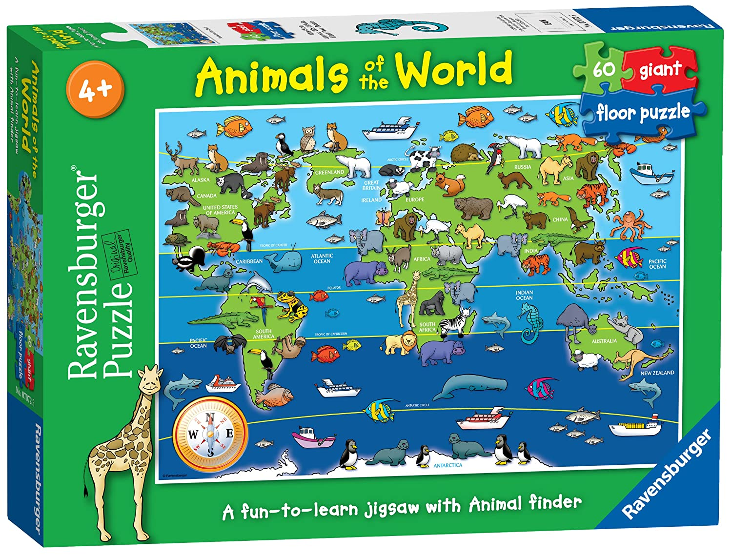 Ravensburger 7072 animals of the world giant floor jigsaw puzzle ravensburger 7072 animals of the world giant floor jigsaw puzzle 60 pieces ravensburger amazon toys games gumiabroncs Images