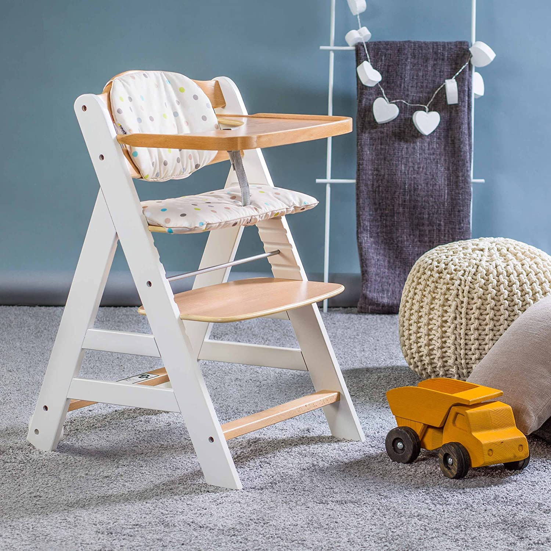 Tisch//mitwachsend Sitzpolster Baby Holz Hochstuhl ab Geburt mit Liegefunktion//inkl h/öhenverstellbar Aufsatz f/ür Neugeborene Hauck Beta Plus Newborn Set Wei/ß Natur