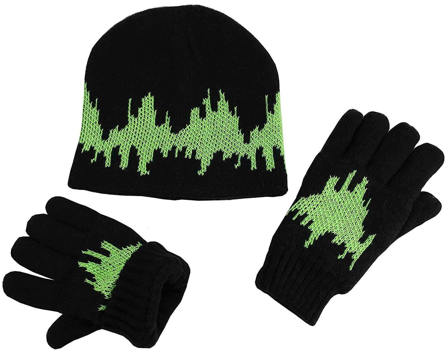 NIce Caps Boys Warm Double Layered Lined Hat and Gloves Winter Snow Set