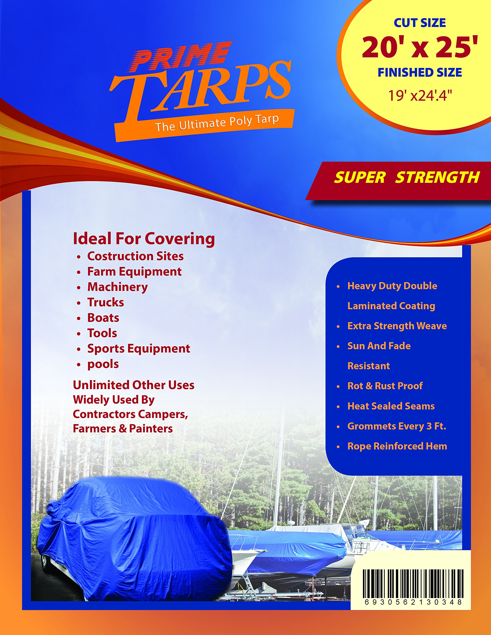 20'x25' Blue Multi-purpose 6ml Waterproof Poly Tarp Cover with Tent Shelter Camping Tarpaulin By Prime Tarps by TARPATOP (Image #2)