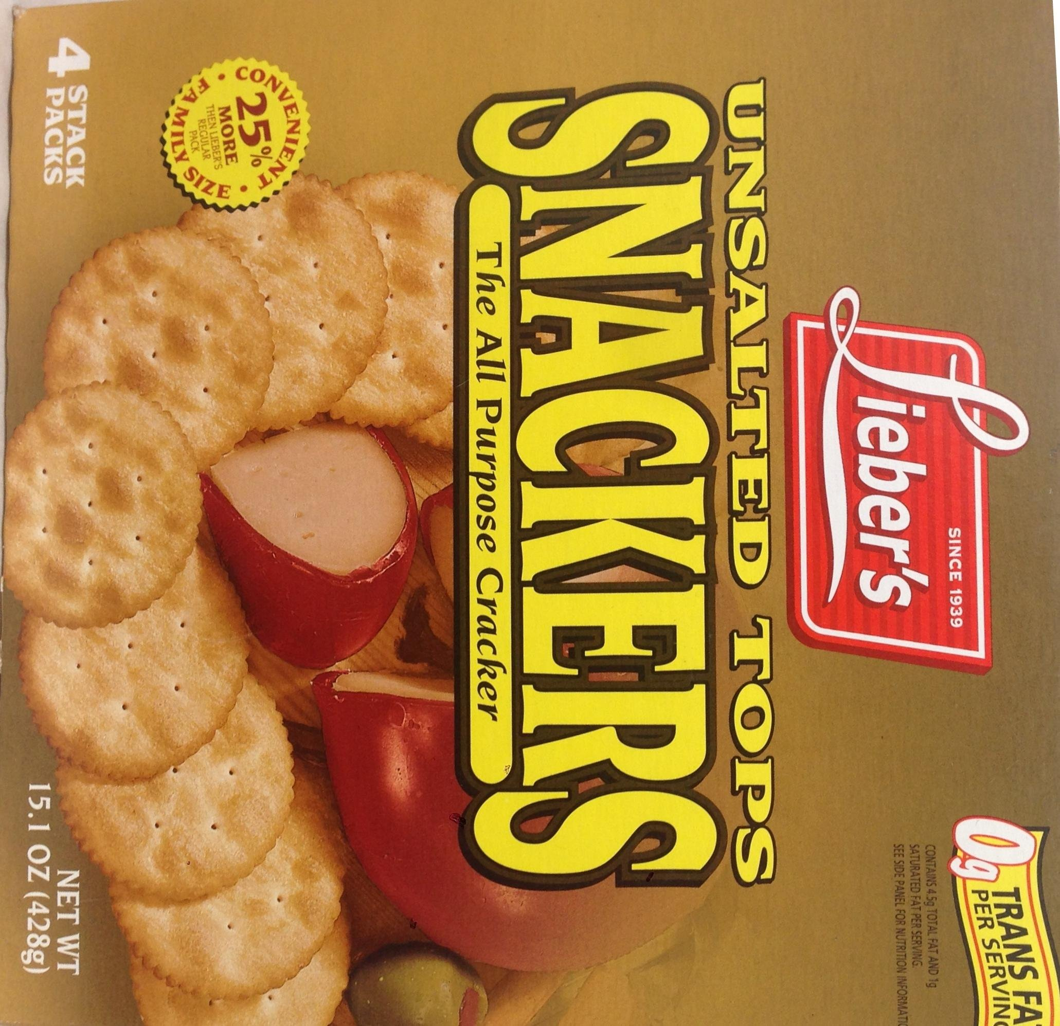 Lieber's Unsalted Tops Snackers The All Purpose Cracker 15.1 Oz. Pk Of 3.