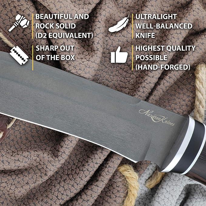 Cuchillos de Caza - Cuchillo de Punto de caída - D2 - Madera ...