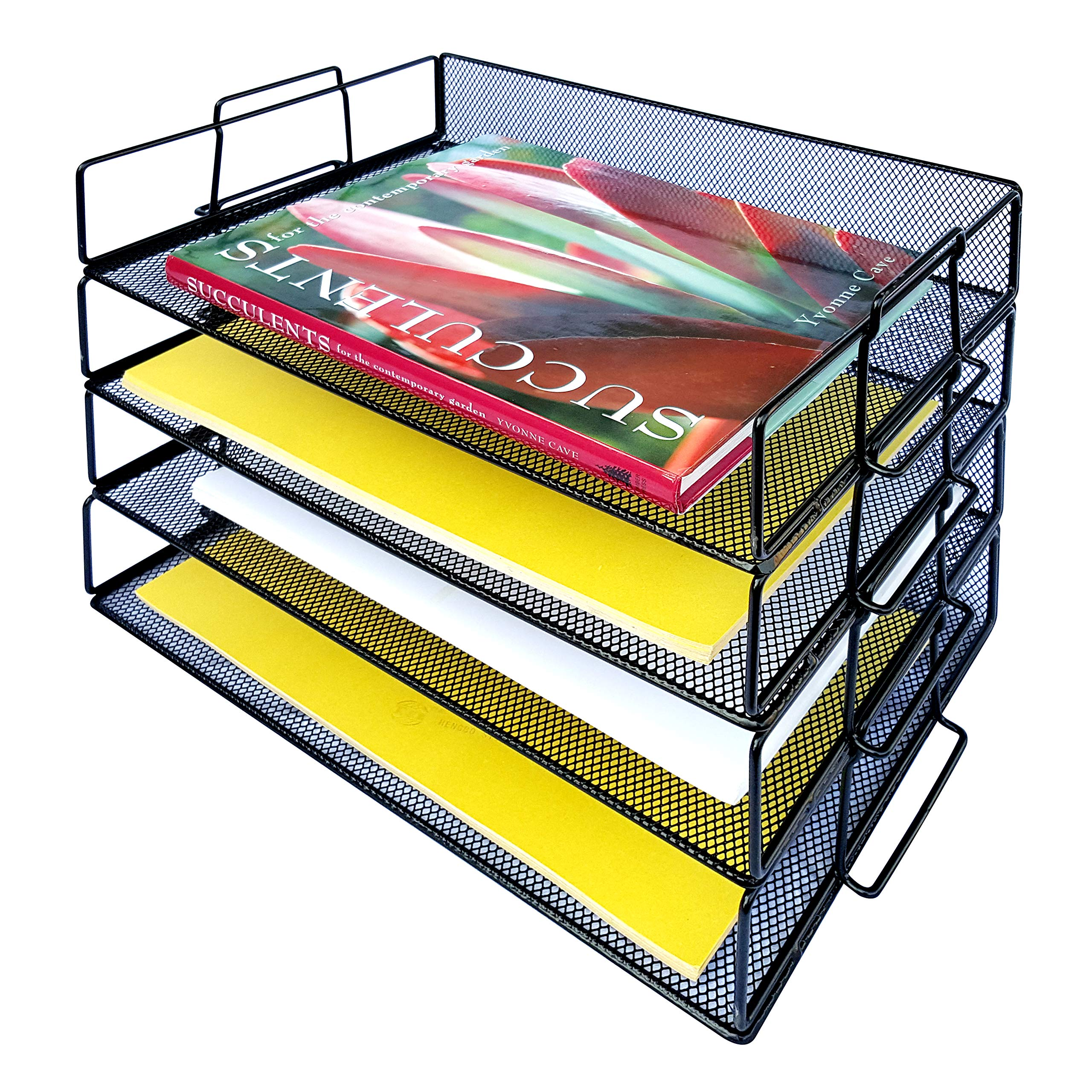 Coastal Colors 4 Tier Mesh Desk Organizer Stackable Trays to Organize Paper, Stationary, Documents, Files. Perfect Paperwork Filing and Organization Inbox for Home Office Classroom Cubicle Black by Coastal Colors