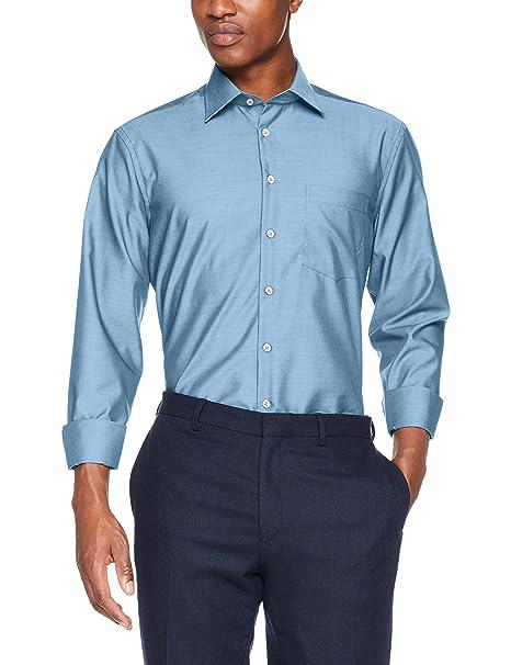 3000 - Camisa de manga larga con cuello clásico para hombre, Azul (14 mittelblau), 37 Seidensticker