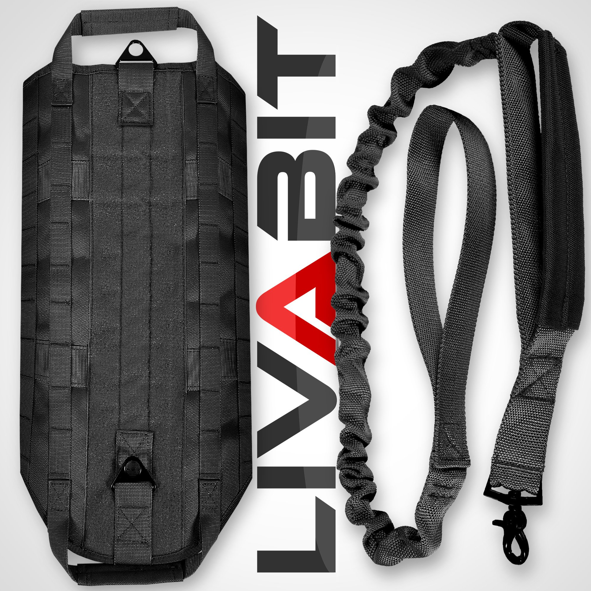 LIVABIT [ Black Canine Service Dog Tactical Molle Vest Harness + Morale PVC Patches + Matching Heavy Duty Bungee Leash Strap X-Large