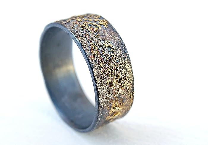 Amazon Com Mens Wedding Band Gold Silver Meteorite Ring Gold
