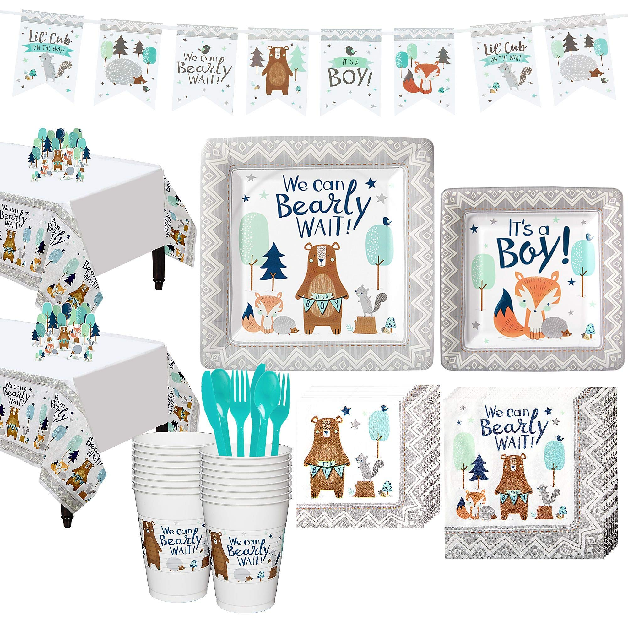 Party City Can Bearly Wait Baby Shower Kit for 16 Guests, Includes Table Covers, Table Decorating Kit and Banner