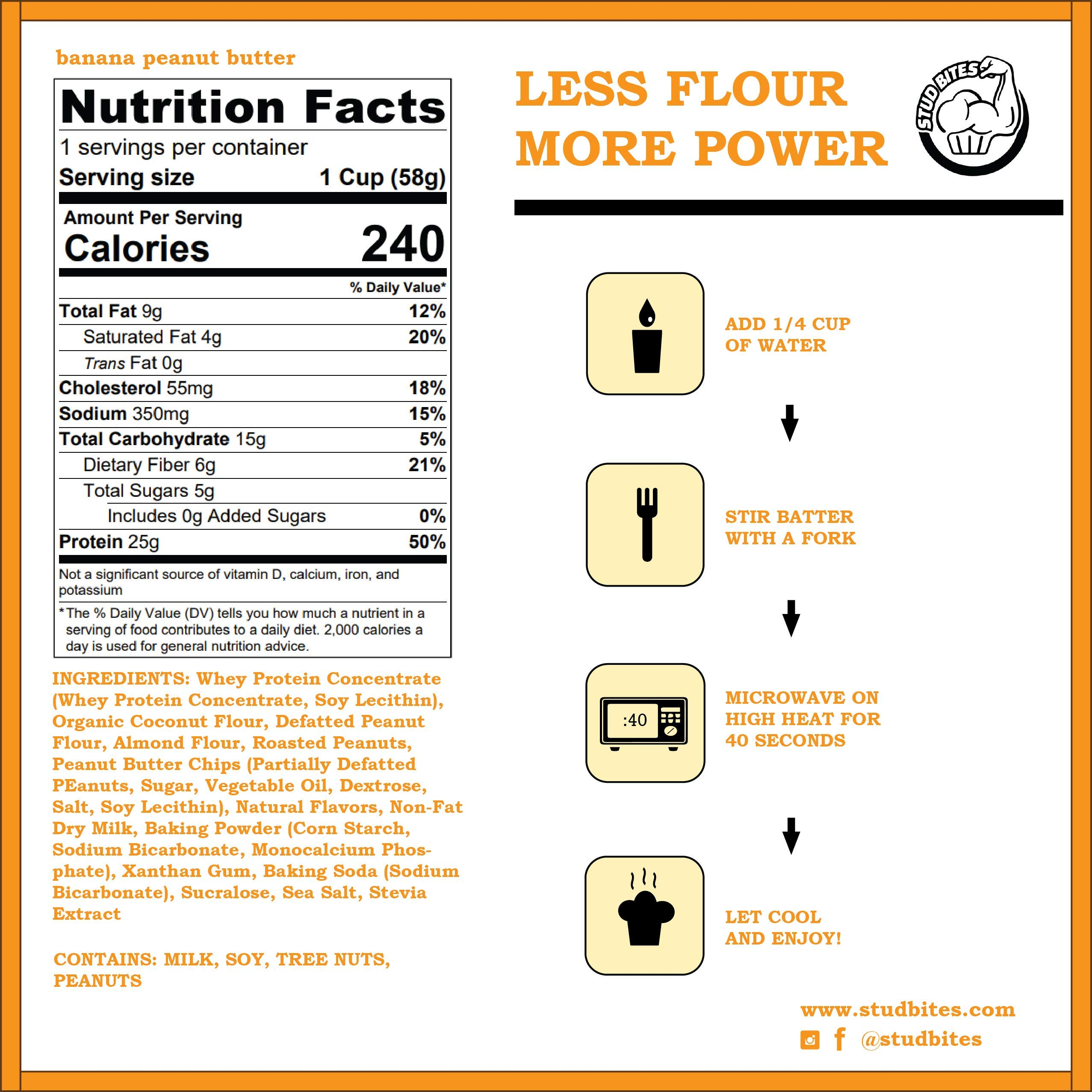 Stud Bites   High-Protein Muffin   25g Protein, 9g Net Carbs (Banana Peanut Butter, 12-Pack) by Stud Bites