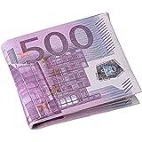 Uomo Portafoglio degli personalità 500/100 Euro fattura tasche del cuoio della carta Bifold Chic Pelle PU breve Portafogli Regalo (500 EUR)