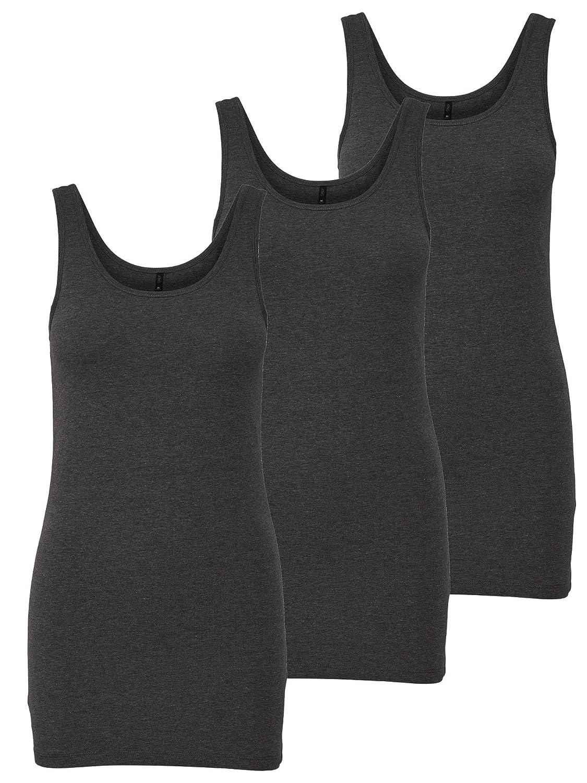 74f8116d077f ONLY 3er Pack Damen Oberteile Basic Tank Tops weiß, schwarz, grau, blau,  Creme Frauen Shirt in Verschiedenen Farben lang Sommer Shirts…