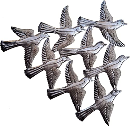 Spring Garden Flock of Birds Wall Art, Haiti Metal Art, Recycled Steel, Handmade 15.5 x 12.5 Inches