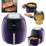 GoWISE USA 5.8-Quart Programmable 8-in-1 Air Fryer XL + Recipe Book (Plum)