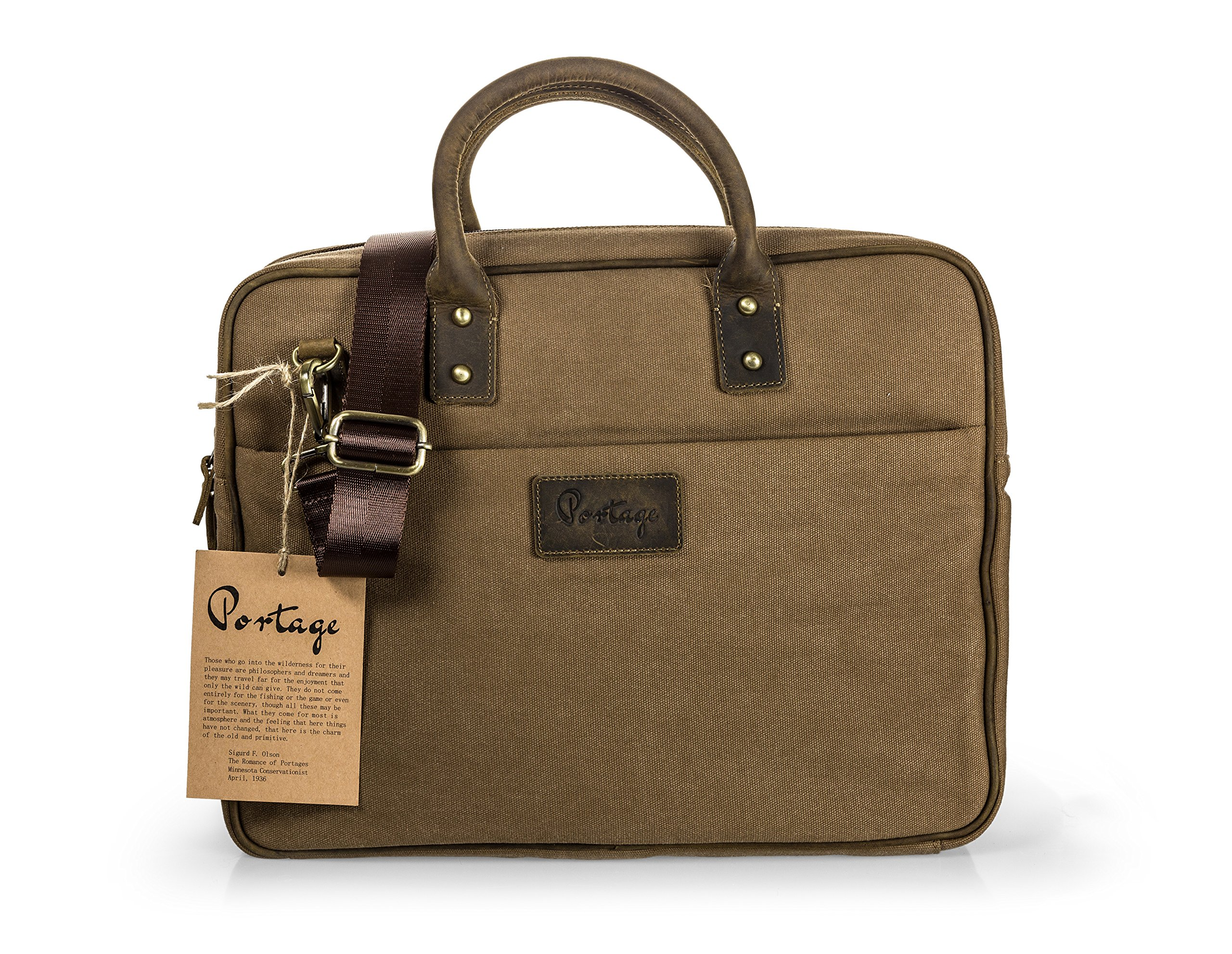 The Northwoods Laptop Briefcase Bag // Vintage Rugged Design // Leather and Canvas paired with soft plaid interior lining. NEW! Fall of 2017! Fits MacBook 13'' 15'' Chromebook, Surface, Ipad, Tablets