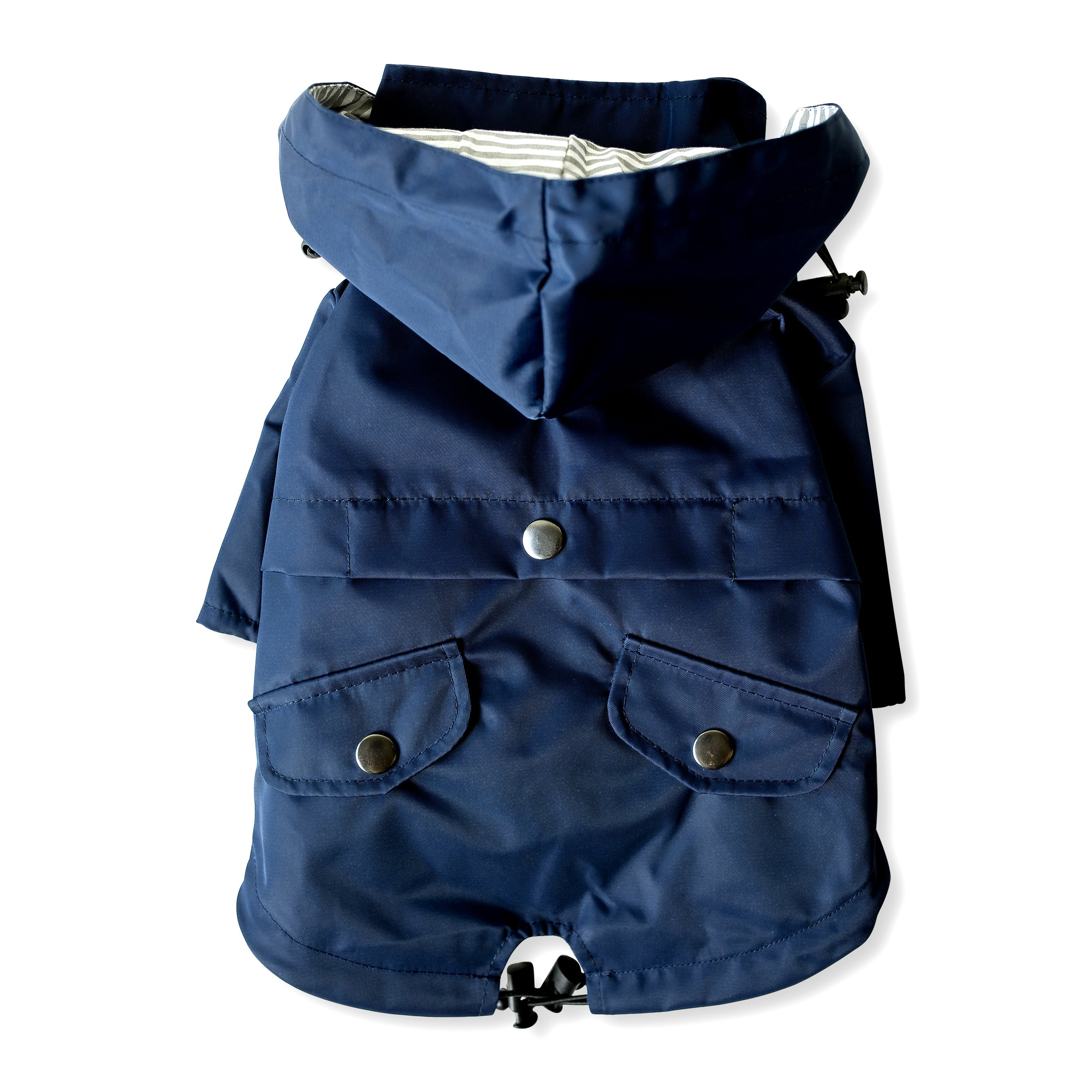 Navy Blue Zip Up Dog Raincoat with Reflective Buttons, Pockets, Rain/Water Resistant, Adjustable Drawstring, Removable Hood - Size XS to XXL Available - Stylish Premium Dog Raincoats by Ellie (S) by Ellie Dog Wear (Image #2)