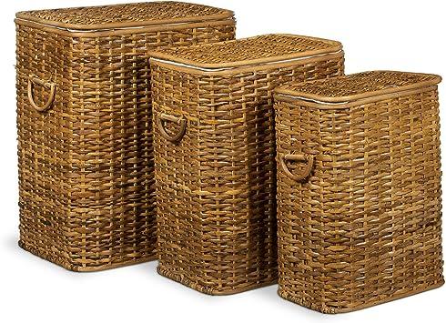 Casa Furnishings Panier /à linge en osier naturel avec doublure en coton jacinthe deau Small naturel Jacinthe deau. L 34 x W 25 x H 55 cm