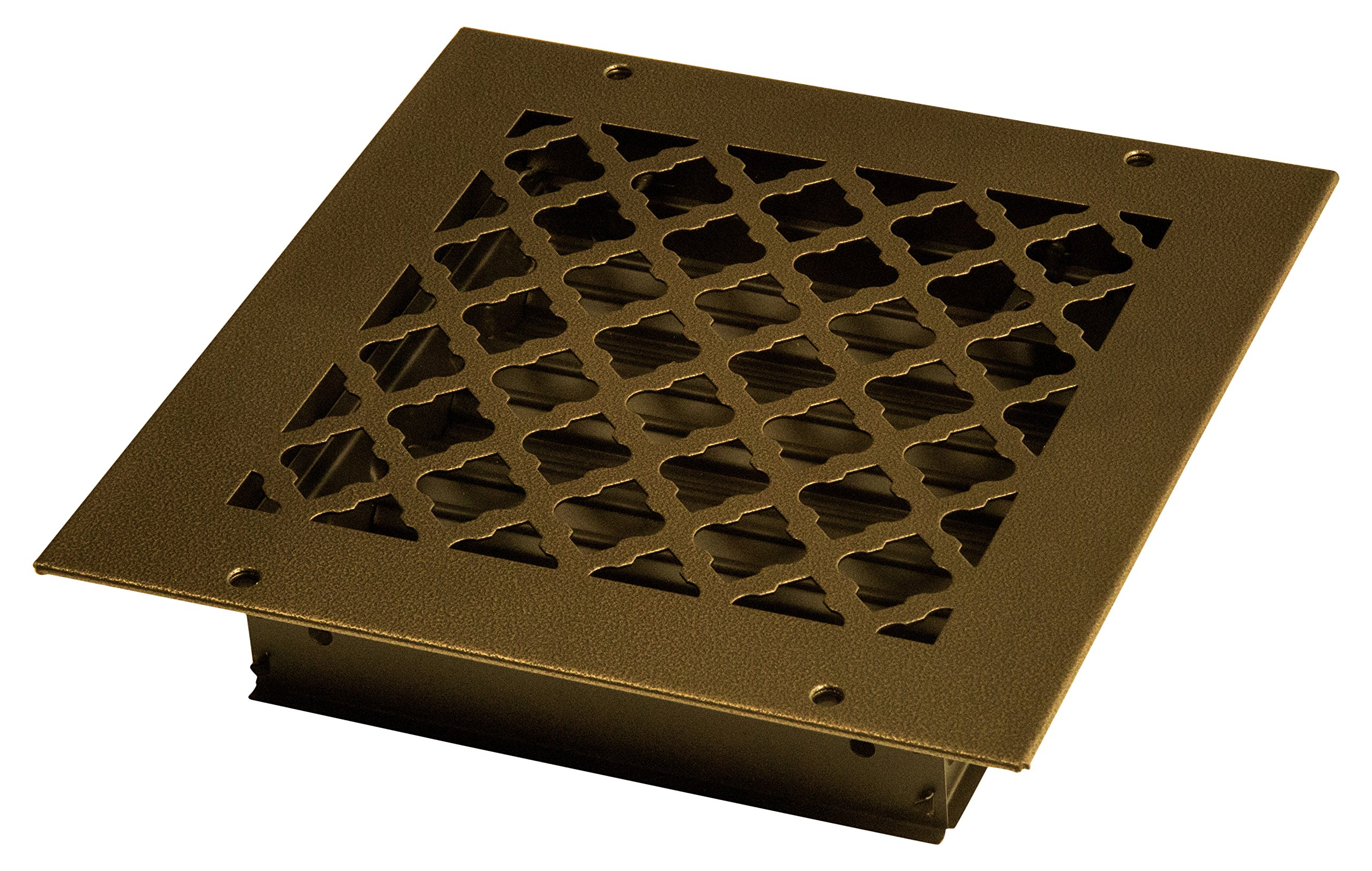 SteelCrest BTU8X8SORBH Bronze Series Designer Wall/Ceiling Vent Cover, with Air-Volume Damper, and Mounting Screws, Oil Rubbed Bronze