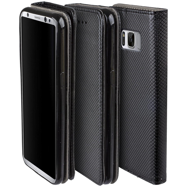 Cover Samsung Galaxy S8 Nero Custodia a libro Flip Smart magnetica de Moozy con funzione di appoggio e supporto in silicone Amazon Elettronica