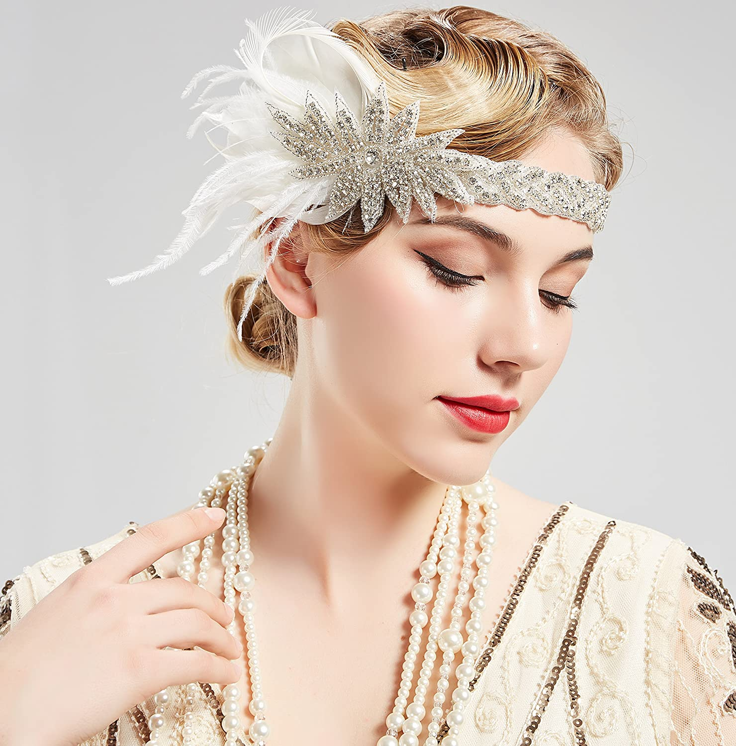 LadiesFlapper Head Band with Feathers Stylish Lady  1920s 1930/'s Style Headpiece