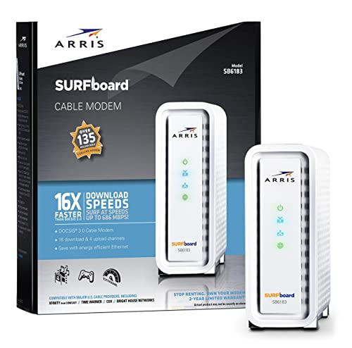 ARRIS SURFboard SB6183 DOCSIS 3.0 Cable Modem - Retail Packaging - White