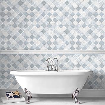 Contour Blue Horizon Kitchen Bathroom Wallpaper