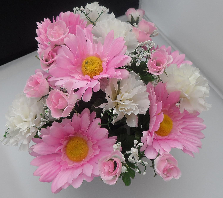 Homestreet® Composizione di fiori artificiali con gerbere e margherite in un vaso, colori a scelta blu o rosa Blue