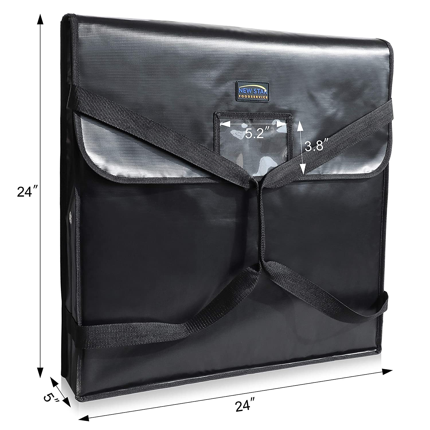 24 by 24 by 5 Black New Star Foodservice 51131 Insulated Pizza Delivery Bag