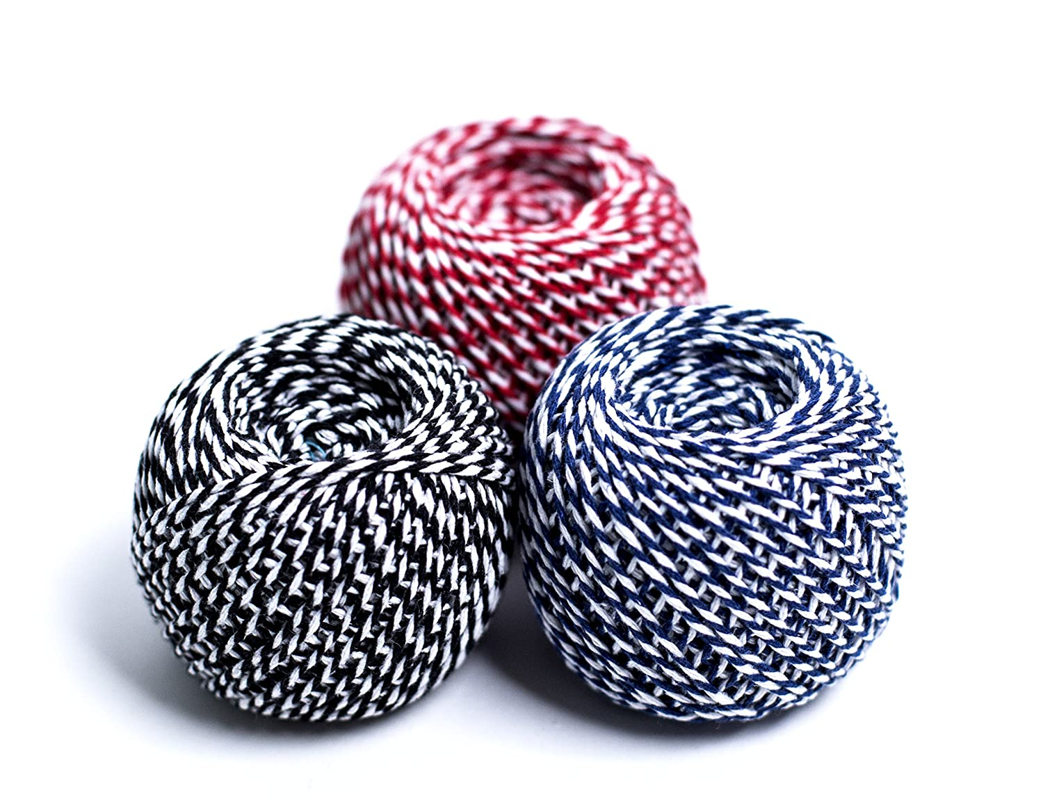 3 Roll 70M (Total 210M) Cotton Rope Ribbon Twine Wrap Gift Bakers String Cord Ball for Floristry, Gifts, Greeting Card, DIY Arts& Crafts, Garden and Home Decoration 2MM in Diameter(1 Red+White, 1 Blue+White,1 Black+White) YIRANFANTASY