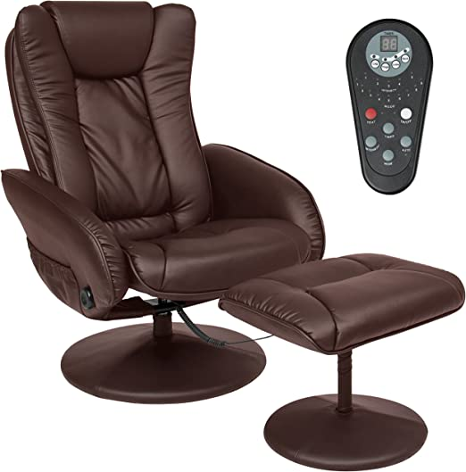 Faux Leather Massage Recliner Chair w/Ottoman