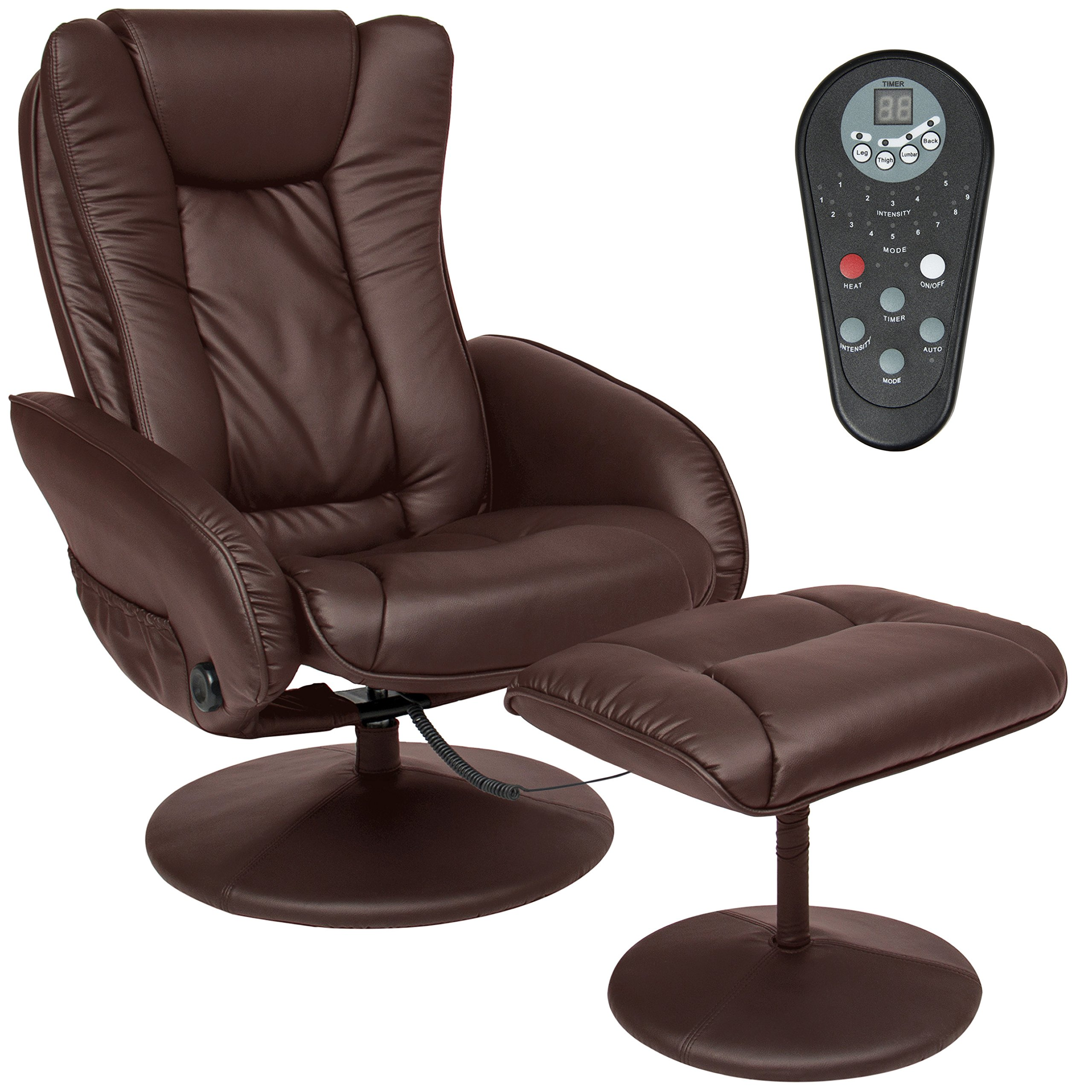 Best Choice Products PU Leather Massage Recliner Ottoman w/ Control, 5 Heat & Massage Modes, 45lbs (Brown)