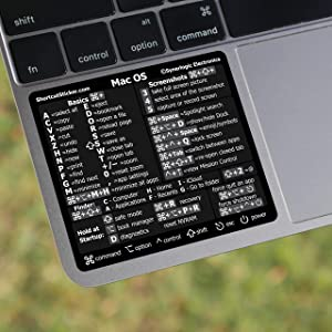 SYNERLOGIC Mac OS (Big Sur/Catalina/Mojave) Reference Keyboard Shortcut Cheat Sheet Sticker - Laminated Black Vinyl, No-Residue Adhesive - Compatible with Intel MacBook Air/Pro/iMac/Mini