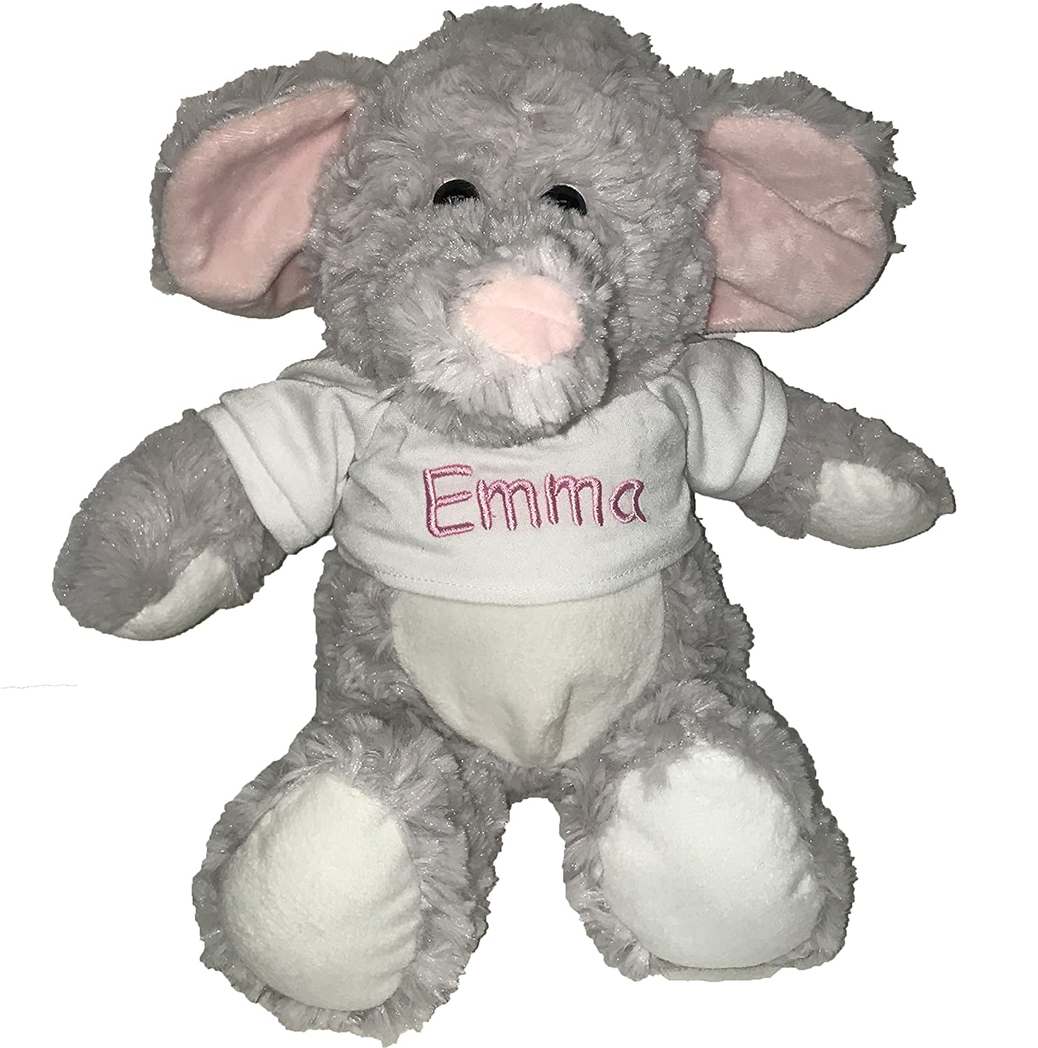 Personalized Elephant With T Shirt Sitting Plush Stuffed Animal Toy Baby Pink