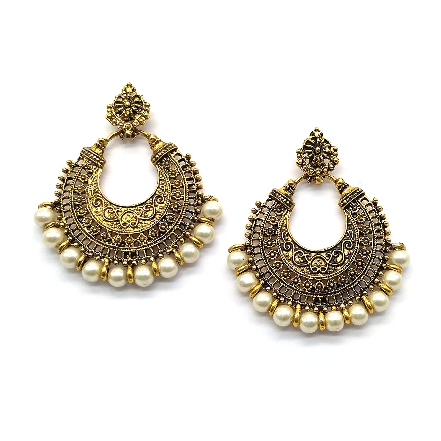 aac825bfc iKraft Oxidized Chandbali Earrings with White Beads German Silver Plated  Antique Gold Finish Chandelier Earrings for Girl and Women: Amazon.in:  Jewellery
