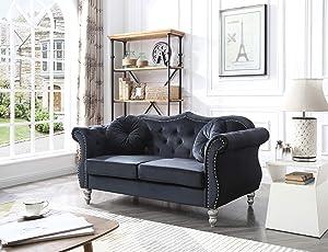 Glory Furniture Hollywood Loveseat Love Seats, Black