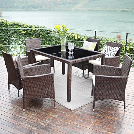 Wisteria Lane Outdoor Wicker Dining Set, 7 Piece Patio Dinning Table Brown Wicker Furniture Seating Beige Cushions