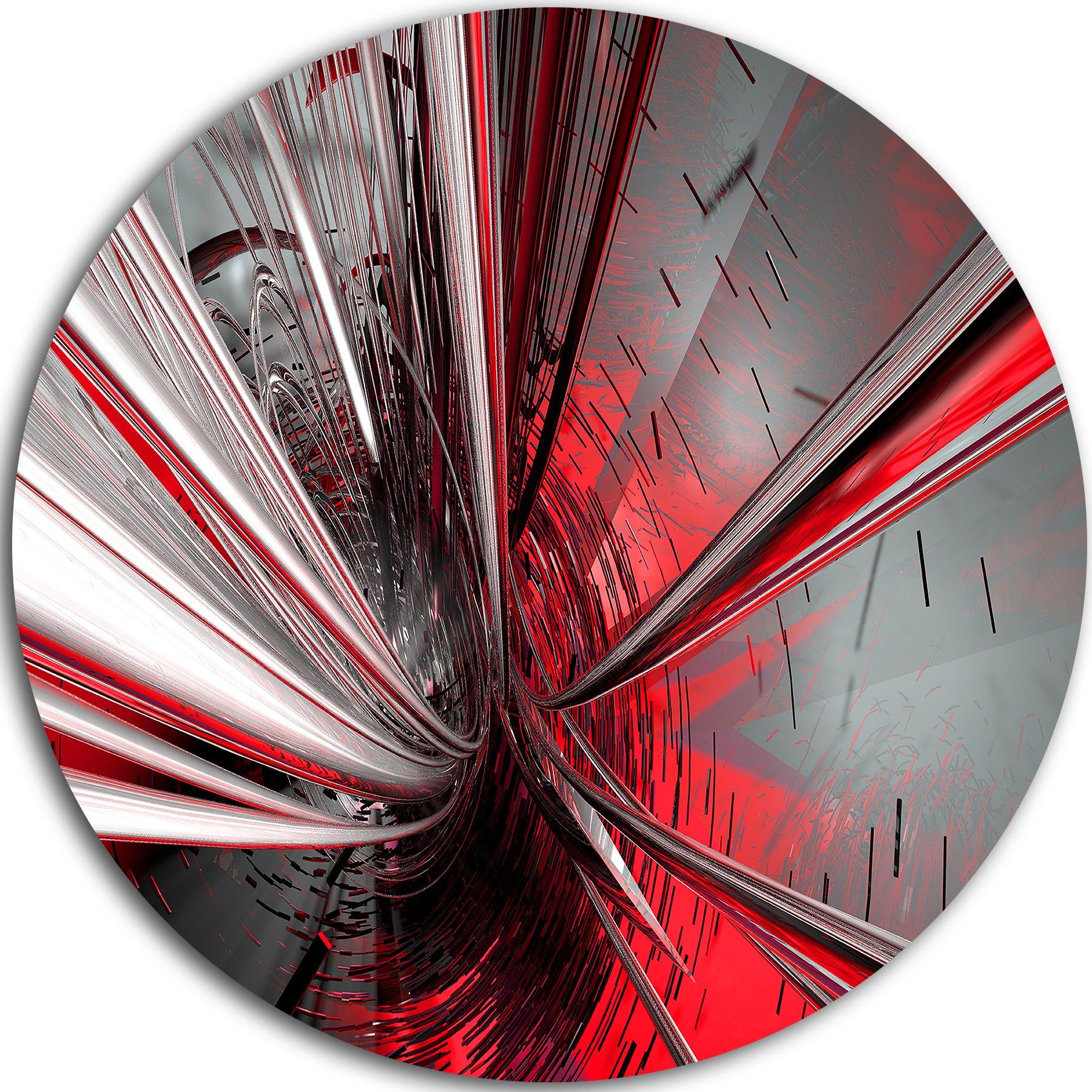 Designart MT9201-C38 ''Fractal 3D Deep into Middle Abstract Art Disc'' Metal Wall Art, 38'' x 38'', Red by Design Art