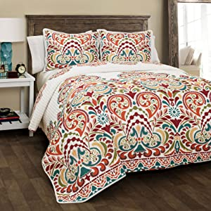 Lush Decor Clara Quilt 3 Piece Reversible Bedding Set, Full Queen, Turquoise and Tangerine