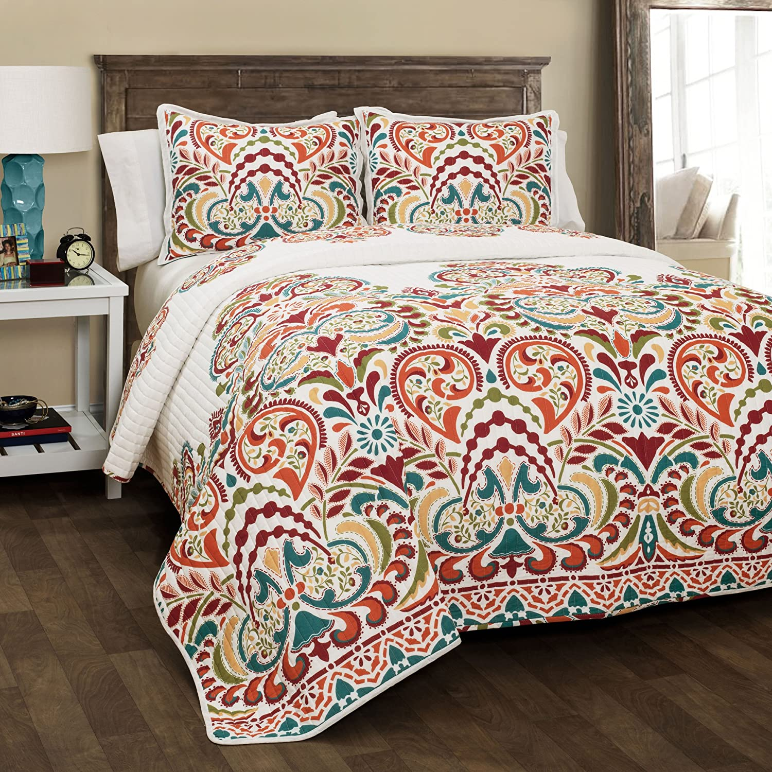 Lush Decor Clara Quilt 3 Piece Reversible Bedding Set, King, Turquoise and Tangerine