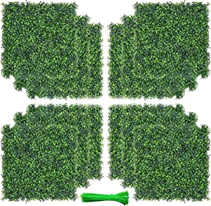 Sibosen 20x20 Inch Artificial Boxwood Panels Topiary Hedge Plant, 12 PCS Privacy Hedge Fence Screen Faux Fence Decoration UV Protection for Outdoor Indoor Garden Backyard (12, 20x20 Inch)