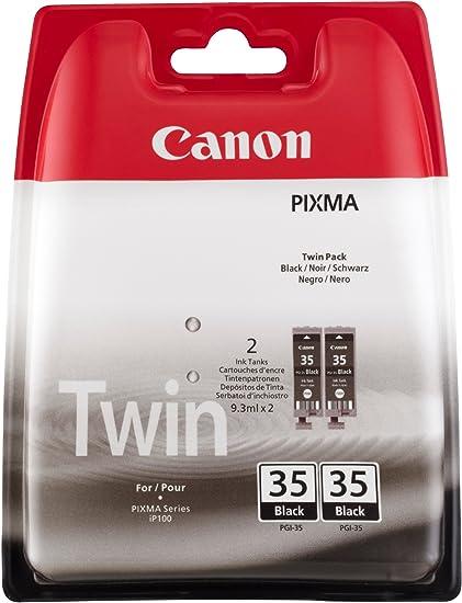 Canon PGI-35 2 Cartuchos Twinpack de tinta original Negro para Impresora de Inyeccion de tinta Pixma iP100-iP100wb-iP110-iP110wb