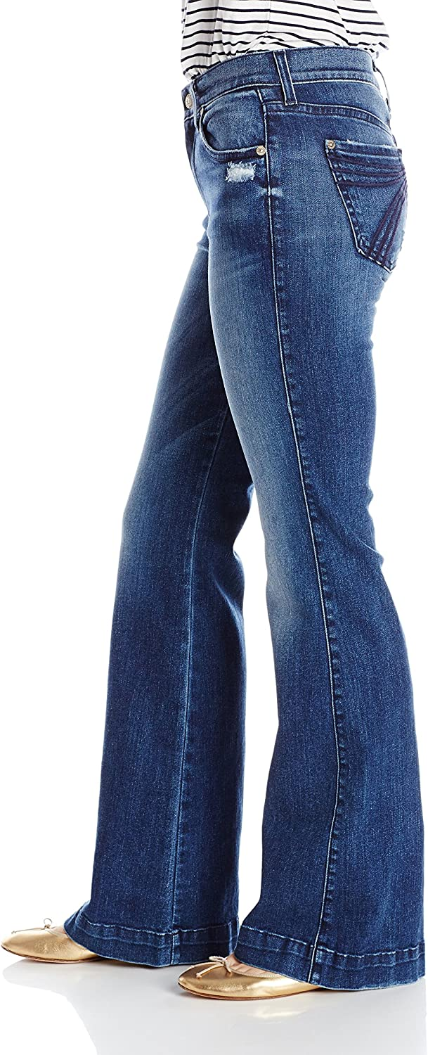 7 For All Mankind Womens Petite Size The Tailorless Dojo Trouser Jean Lake Blue 28 Short Inseam