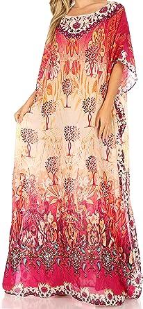 Women Short Sleeve Boho Casual Loose Floral Kaftan Maxi Ladies Long Dress Dress