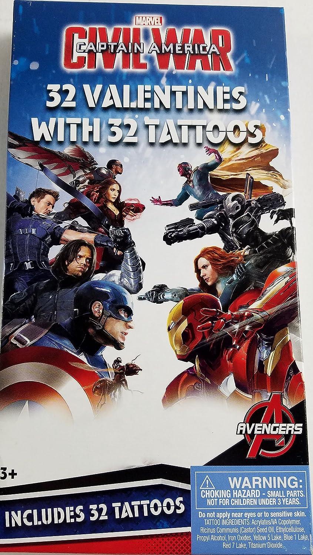 Amazon.com: Marvel Captain America Civil War 32 Valentines With 32 Tattoos:  Toys U0026 Games