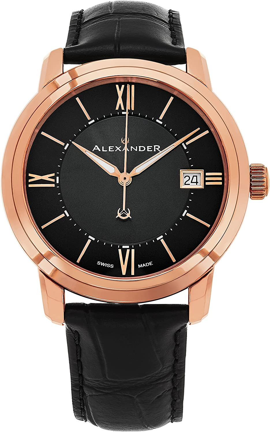 Alexander Heroic Macedon Mens Rose Gold Watch Leather Band - 40mm Analog Black Face with Second Hand Date and Sapphire Crystal - Classic Swiss Made Quartz Dress Watches for Men Gold Tone A111-05