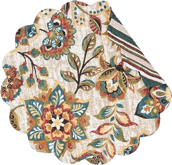 C/&F Home Fiona Jacobean Cotton Valance Warm Bohemian Modern Cheerful Dynamic Cream Teal Cocoa Sage Valance Brown