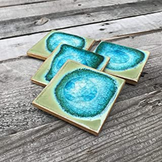 product image for Geode Crackle Coaster Set of 4 in Jade, Geode Coaster, Crackle Coaster, Fused Glass Coaster, Crackle Glass Coaster, Agate Coaster, Ceramic Coaster, Dock 6 Pottery Coaster