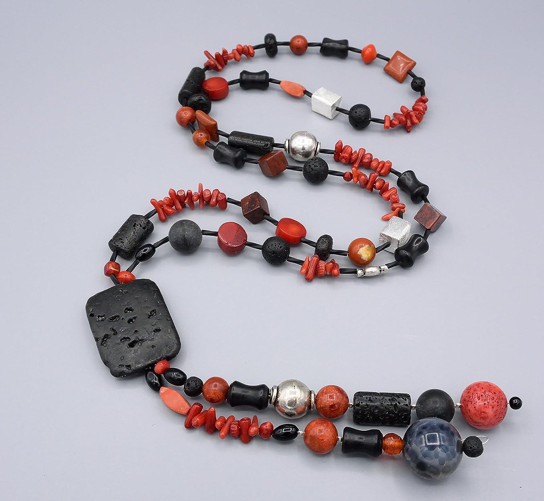 Lange Y-Kette Edelsteinkette - schwarz rote lange Kette - Beads-in-Fashion
