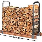 HollyHOME Heavy Duty Firewood Racks Adjustable Length Log Bracket Rack Holder, Black